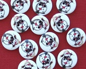 20 Snowman Buttons Painted Wood Just Adorable with Broom 15mm BUT236