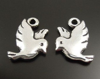 8 Small Bird Charms Antique  Silver Tone Simply Adorable 2 Sided - SC2504
