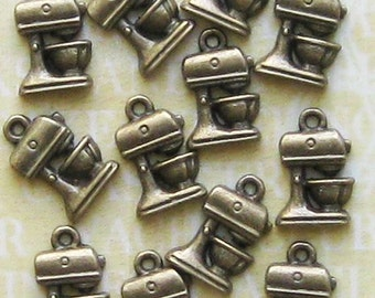 8 Baking Cooking Charms Antique Bronze Tone Mixer - BC184