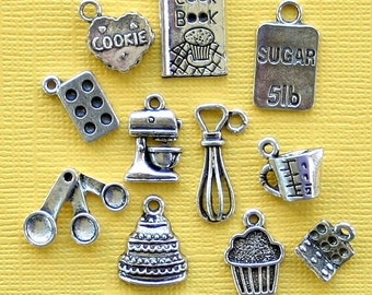 In the Kitchen Charm Collection Antique Silver Tone 12 Different Charms -  COL252
