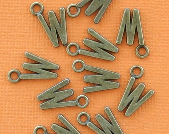 8 Letter W Alphabet Charms Antique Bronze Tone Great for So Many Projects - BC735