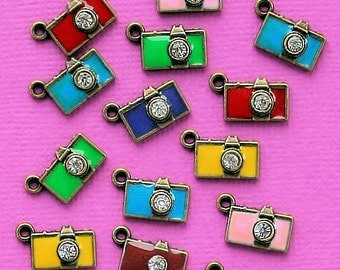 8 Enamel Camera Charms Assorted Colors with Center CZ - E091