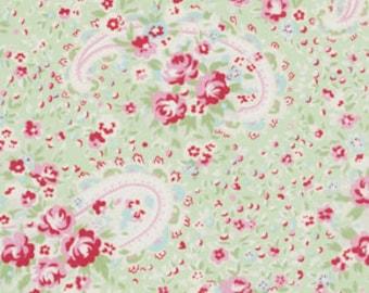 Tanya Whelan Rosey-Paisley Rose Green-Shabby Chic-Paisley Fabric-One Yard, 14 Inches