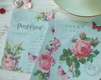 Aqua notecards - roses - shabby style notecards - butterfly - Paris - embellishments