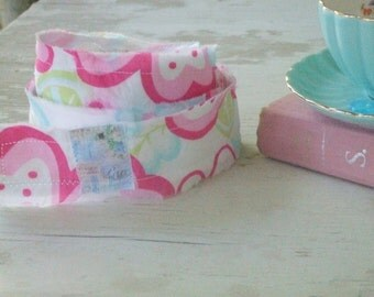 Hand stamped trim - Aqua and pink fabric - floral fabric - scrap roll - fabric roll - fabric strip - embellishment