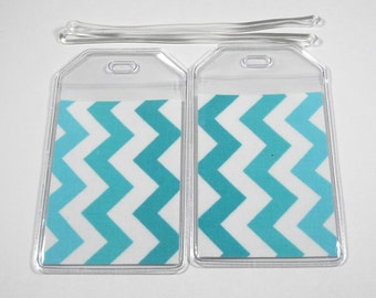 Luggage Tags Set of 2 Blue Chevron