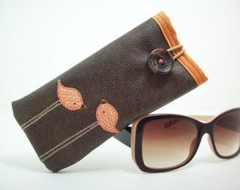 Eyeglass case in brown with orange birds