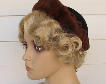 1950s Hat Black Fur Trimmed By Lecie Original