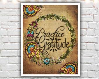 gratitude wall art - inspirational typography print - bohemian art - illustration print