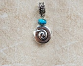 3-D Nautilus Shell Charm with Ocean-Colored Stone, for European Bracelet