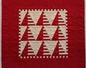 Red and Ecru Silk Miniature Quilt