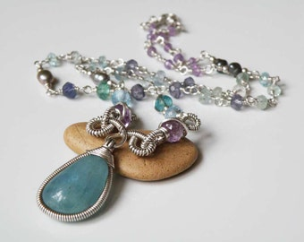 Aquamarine necklace - wire wrapped - sterling silver Amethyst Topaz Appetite Iolite Pearls - Natural gemstones - Timeless Jewelry- Handmade
