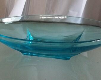 Vintage Mid-Century Design Blue Glass Candy/Serving Dish