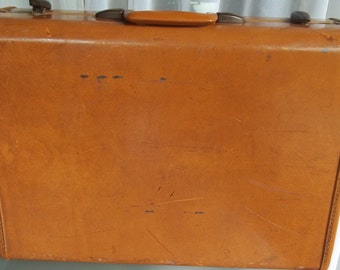 Caramel Leather Samsonite Hard Suitcase, Vintage Luggage, Travel, Vacation, Storage, Home Decor