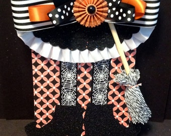 Halloween Wall Hanging, Plaque, Witches Boots and Broom