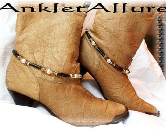 Southwestern Carved Hairpipe Boot Chains November Topaz Silver Boot Jewelry Western Cowboy Boots