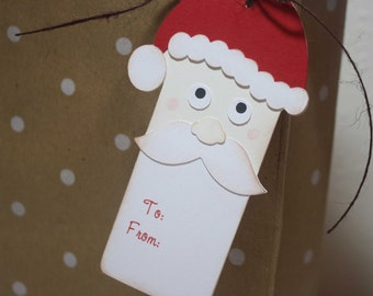 Santa gift tags - Christmas gift tags, Secret Santa, custom wording, set of 6