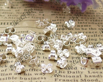 50pcs of Silver Tone Brass Earring STUDS BACK STOPPERS 3x5mm