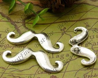 12PCS Of 18x45MM Antique Silver Charm Pendant,metal finding,pendant beads,jewelry findings,Connectors Bracelet,mustache