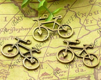 12PCS Of  24x31MM Antique Brass Charm Pendant,metal finding,pendant beads,jewelry findings,Connectors Bracelet,bicycle,heart