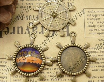 10 pcs of  Antique brass Round Cabochon Pendant Base (Fit Cabochon 20mm),Pendant findings,rudder findings