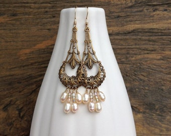 Pearl chandelier earrings, pearl earrings, earrings under 50