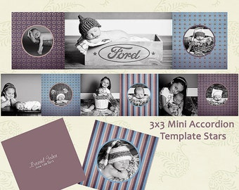 mini album template book 3x3 accordion design collage custom brown blue beige stars & stripes family INSTANT DOWNLOAD for photographers psd