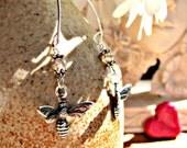 Bee Earrings on Elf Inspired Ear Hooks