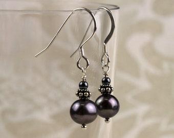 Dainty Grey Fresh Water Pearl Earrings,  Sterling Silver