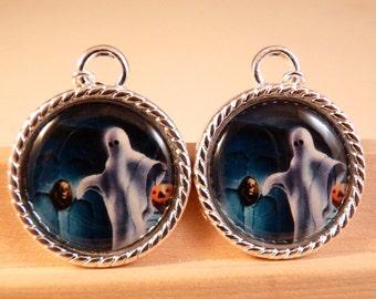 Halloween Jewelry Halloween Earrings Skull Earrings Ghost Earrings Ghost Jewelry Holiday Jewelry Pumpkin Jewelry Silver Jewelry