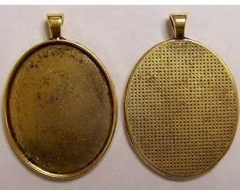 Antique Gold setting 40x30 Pendant Setting with Bail for mounting cameos cabochons or gemstones 631x