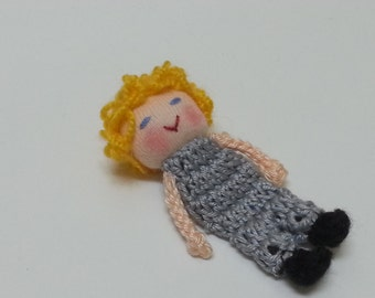 Yellow Boy Finger Puppet, Waldorf Inspired doll, Crochet Boy Doll, Small