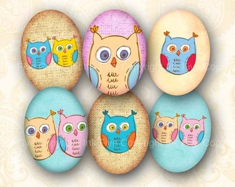 30x40 mm ovals Doodle Owls collage sheet for cabochons, cameos, pendants. Printable 30 x 40 mm oval images for instant digital download.
