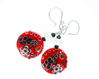Lampwork Earrings, Red Earrings, Glass Bead Earrings, Glass Bead Jewelry, Flower Earrings, Unique Earrings, Lampwork Jewelry