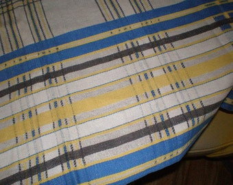 Vintage Mid Century Linen Stripped Table Cloth