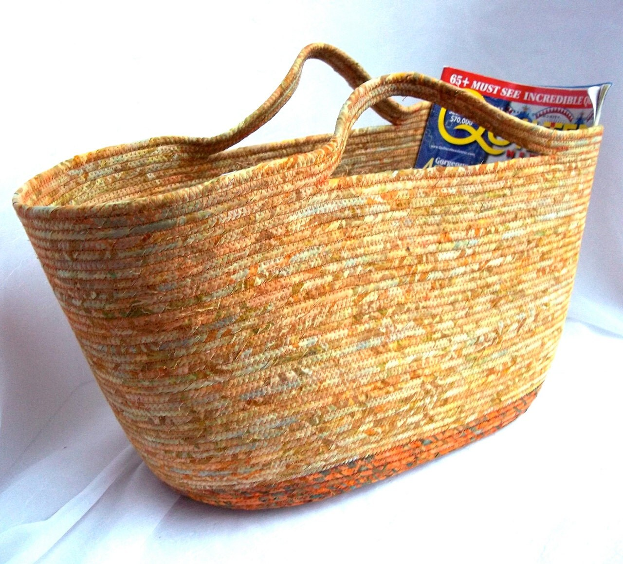 Handmade Fabric Storage Baskets : Southwestern magazine rack handmade autumn fabric basket