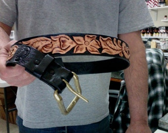 Belt / Leather / Black /  Custom / Men / Women / Western / Hand Carved and Tooled / Hand Made /  Black / Leather Belt / 1 - 1/2 inch wide