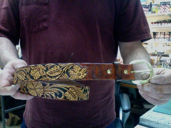 Leather belt sheridan custom hand carved and by