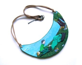 Story statement necklace polymer clay bib necklace Beauty and the Beast wearable illustration green bold necklace