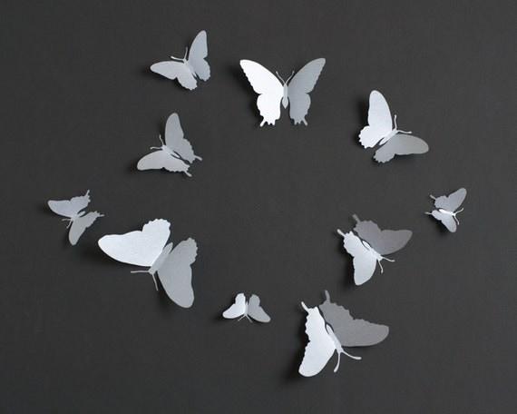papillons mur 3d 3d papillon sticker pour une d coration. Black Bedroom Furniture Sets. Home Design Ideas