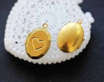 10pcs Vintage Raw Brass Locket Pendant  Charms/Pendants- 17x25 mm (LOCK-59)