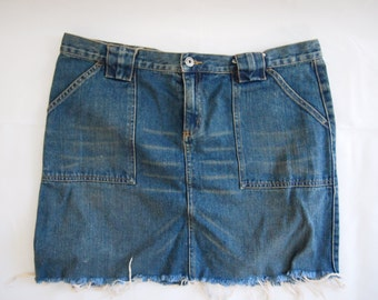OOAK blue cut-off denim mini skirt LARGE