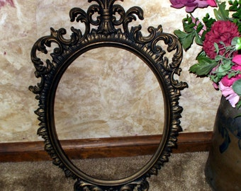 Large Frame Victorian Style Ornate Oval Antique Gold Vintage Rococo Baroque Shabby Rustic Scrolls