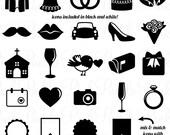 Wedding Icons Clipart Clip Art, Vintage Wedding Invitation Icons Clip Art Clipart Vectors - Commercial Use
