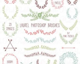 Laurel Photoshop Brushes, Laurel Wreath Photoshop Brush - Commercial and Personal Use