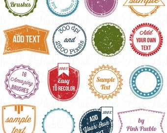 Stamps 2 Photoshop Brushes, Retro Postage Label Frame Photoshop Brushes - Commercial and Personal Use