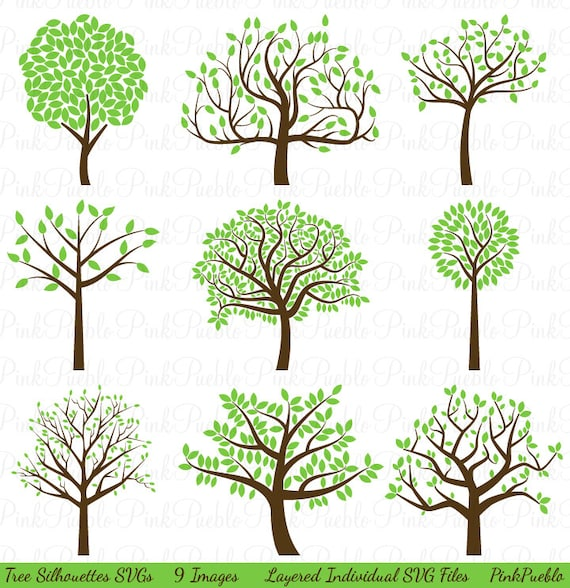 Tree Silhouette Svgs Tree Svg Cutting Templates Commercial
