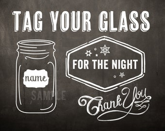 Tag Your Glass Wedding Sign Downloadable Print