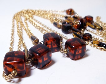 2 Amber Glass Necklaces- Gold Chain- 54 inches- 1970s- Matching Pair- Boho- Hippi- Vintage Jewelry