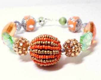 Beaded Bangle- Bead Bracelet- Glamour Bracelet- Fall Bracelet- Wire Wrap Bracelet- Colorful Bangle
